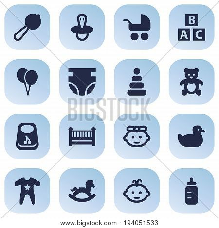 Set Of 16 Baby Icons Set.Collection Of Cot, Pram, Smock And Other Elements.