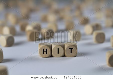 Hit - Cube With Letters, Sign With Wooden Cubes