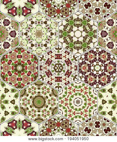 Vector Set Of Hexagonal Patterns.