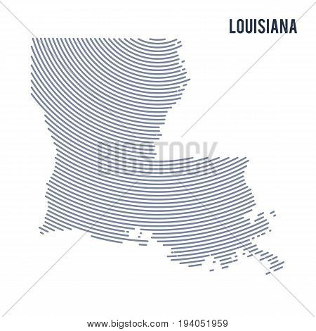 Vector abstract hatched map of of State of Louisiana with curve lines isolated on a white background. Travel vector illustration.