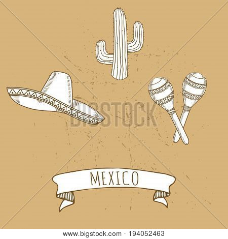 Mexican set sketch vector illustration isolated on background. sombrero, rumba shakers, cactus
