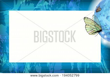 Photo frame summer. Vector illustration for your design. Blue sky and butterflies under the moon. Horizontal sheet orientation
