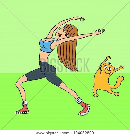 aerobics with the cat. standing exercises. green background. vector illustration