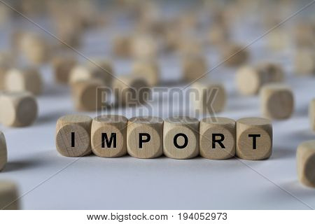 Import - Cube With Letters, Sign With Wooden Cubes