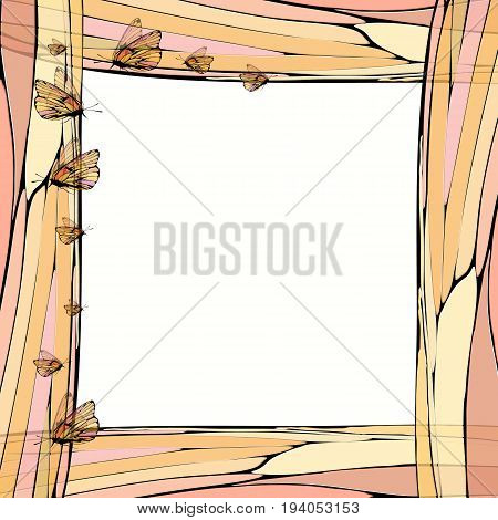 Photo frame summer. Vector illustration for your design. Elements of mosaic and butterfly. Square sheet orientation