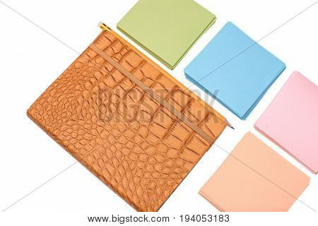 Notebook With Leather Cover And Colored Paper For Writing, Isolated On White Background
