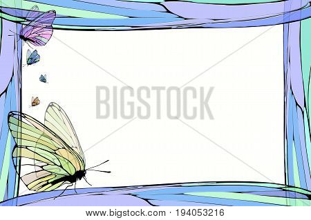 Photo frame summer. Vector illustration for your design. Elements of mosaic and butterfly. Horizontal sheet orientation