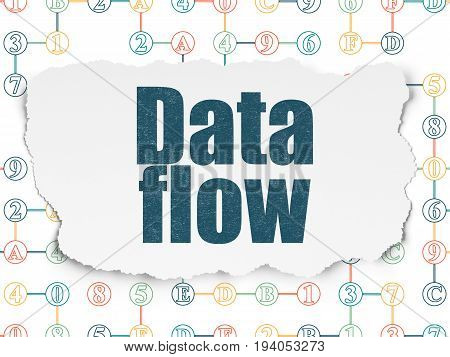 Data concept: Painted blue text Data Flow on Torn Paper background with Scheme Of Hexadecimal Code
