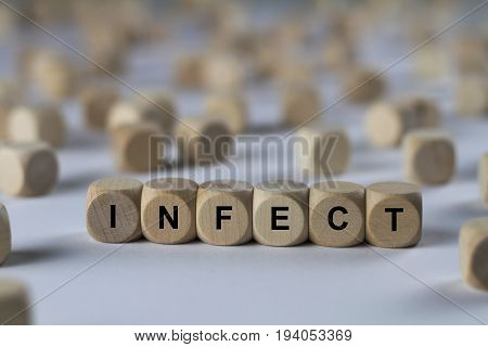 Infect - Cube With Letters, Sign With Wooden Cubes