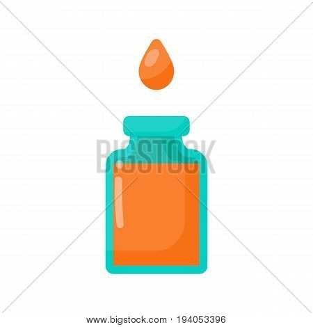 Bottle of poison and drop vector flat icon Flat design of toxic dangerous or medicine isolated on the white background cute vector illustration with reflections