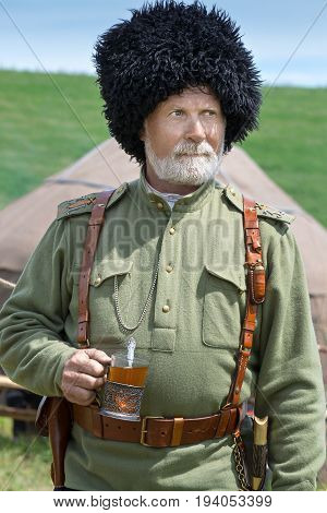 Historical festival, Birsk, Bashkortostan, from July 1, 2017 Portraits of Russian soldiers artillery
