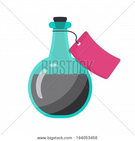 Bottle of poison vector flat icon Flat design of toxic dangerous or magic symbol isolated on the white background cute vector illustration with reflections