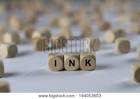 Ink - Cube With Letters, Sign With Wooden Cubes