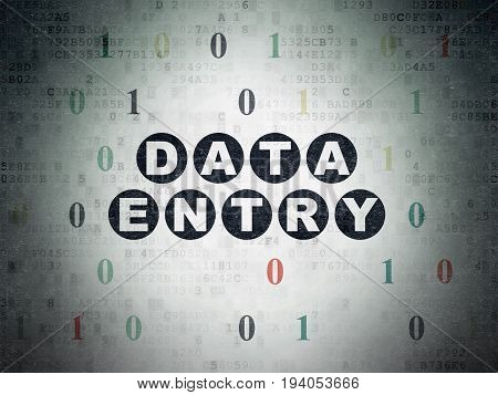 Data concept: Painted black text Data Entry on Digital Data Paper background with Binary Code