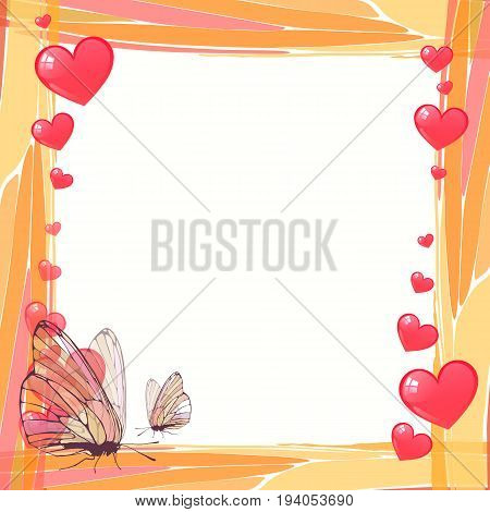 Photo frame summer. Vector illustration for your design. Mosaic elements and butterflies with hearts. Square sheet orientation