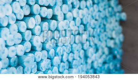 Blue Candles For Pray Stacked In Lourdes To Sell, Religious Symbol