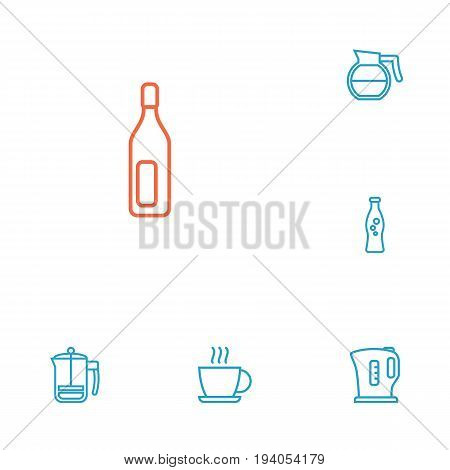 Set Of 6 Drinks Outline Icons Set.Collection Of Coffeepot, Bottle, Kettle And Other Elements.