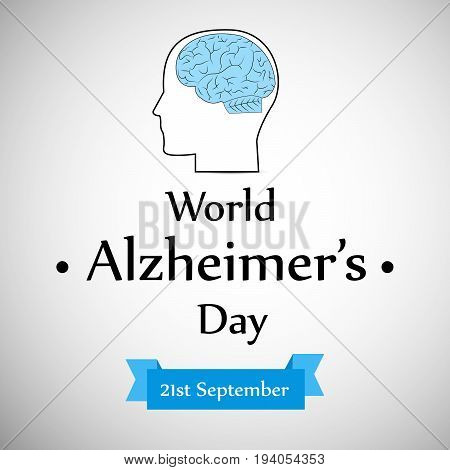 illustration of face and brain with World Alzheimer's Day 21st September text on the occasion of World Alzheimer's Day