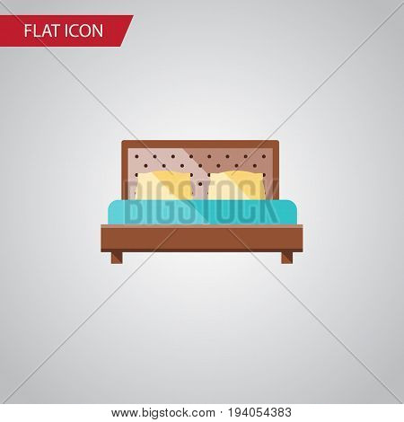 Isolated Bedroom Flat Icon. Hostel Vector Element Can Be Used For Bedroom, Hostel, Bed Design Concept.