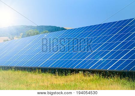 Solar panels in the power station for alternative energy from the sun
