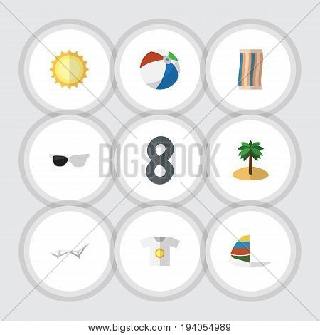 Flat Icon Summer Set Of Sunshine, Wiper, Coconut And Other Vector Objects. Also Includes Coconut, Eyeglasses, Round Elements.