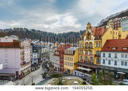 View of Karlovy Vary city center Czech republic