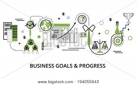 Modern editable line design vector illustration concept of modern business goals and progress in greenery color for graphic and web design
