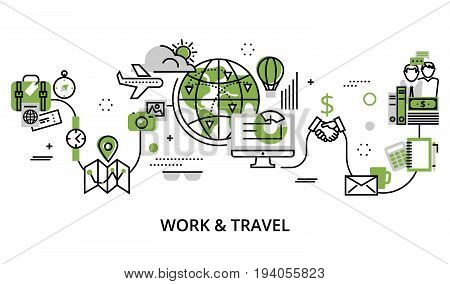 Modern editable line design vector illustration concept of work and travel in greenery color for graphic and web design