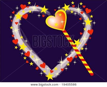 Magic heart, vector illustration
