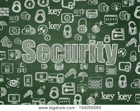 Security concept: Chalk White text Security on School board background with  Hand Drawn Security Icons, School Board
