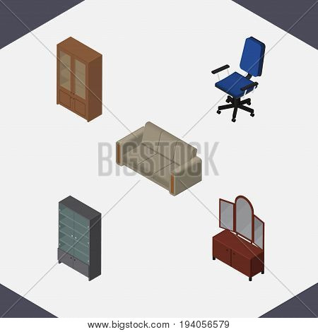 Isometric Furnishing Set Of Sideboard, Office, Drawer And Other Vector Objects. Also Includes Sideboard, Cupboard, Cabinet Elements.