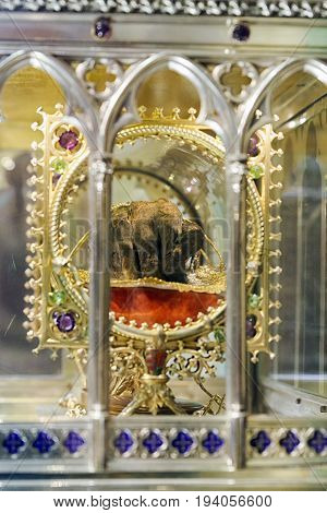 The Holy Right Hand of St. Stephen King of Hungary in Budapest. Hugarian relic