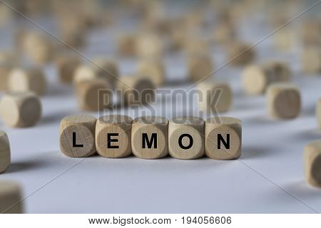 Lemon - Cube With Letters, Sign With Wooden Cubes
