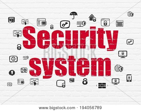 Security concept: Painted red text Security System on White Brick wall background with  Hand Drawn Security Icons