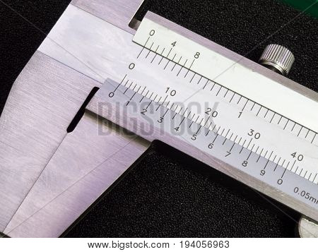 high accuracy Vernier Caliper scale detail close up poster