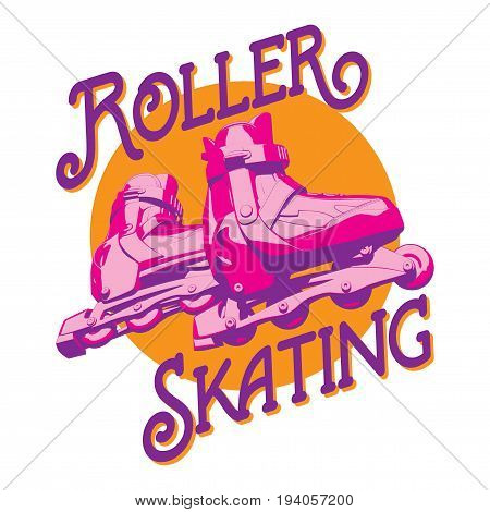 Colorful Sport Poster with words Roller Skating and image of rollers vector illustration