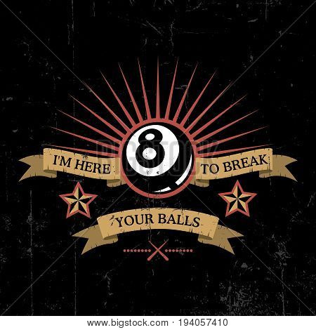 Bowling Effective Poster with one bowl and words to break your balls vector illustration