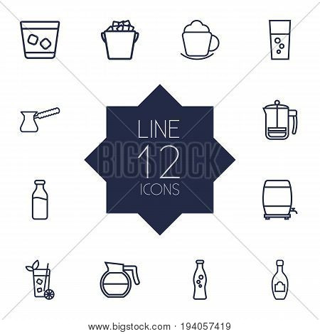 Set Of 12 Beverages Outline Icons Set.Collection Of French Press, Coffeepot, Wine Cask And Other Elements.