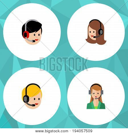 Flat Icon Telemarketing Set Of Service, Call Center, Operator And Other Vector Objects. Also Includes Operator, Human, Service Elements.