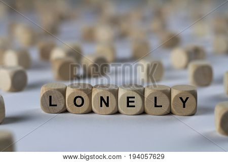 Lonely - Cube With Letters, Sign With Wooden Cubes