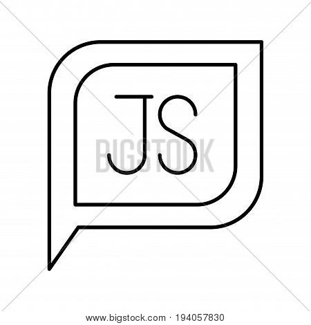 monochrome silhouette dialogue square with tail with js symbol vector illustration