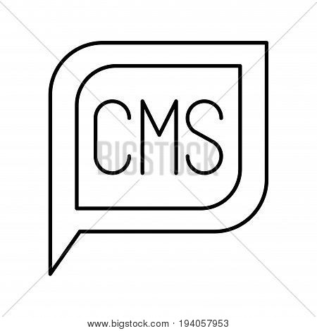 monochrome silhouette dialogue square with tail with cms symbol vector illustration