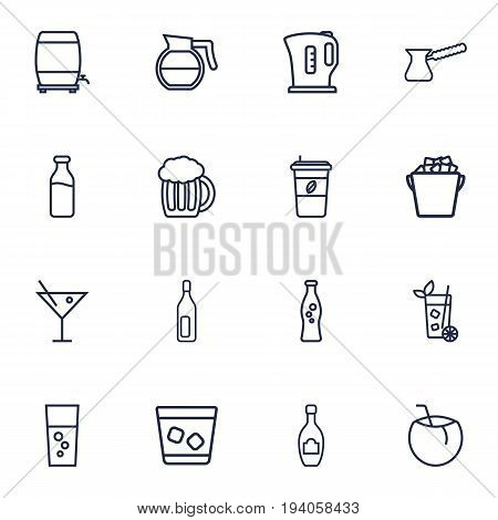 Set Of 16 Beverages Outline Icons Set.Collection Of Bottle, Coconut, Coffeepot And Other Elements.