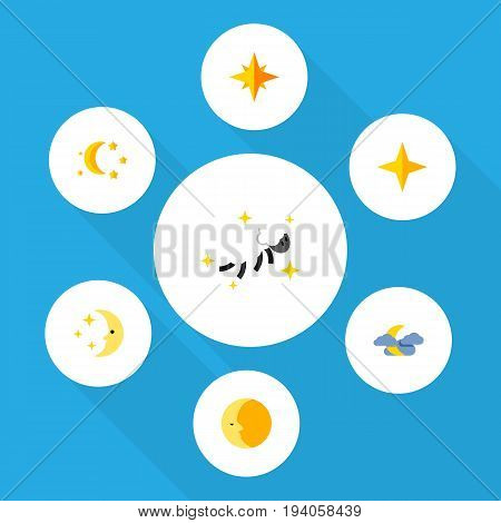 Flat Icon Night Set Of Bedtime, Star, Asterisk And Other Vector Objects. Also Includes Lunar, Midnight, Twilight Elements.