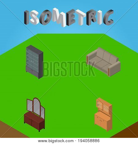 Isometric Furniture Set Of Cupboard, Sideboard, Drawer And Other Vector Objects. Also Includes Sofa, Cupboard, Mirror Elements.