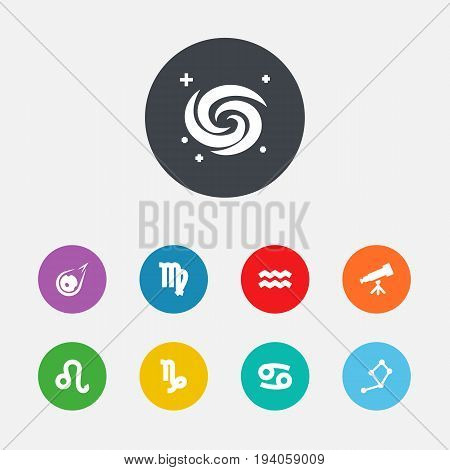 Set Of 9 Astrology Icons Set.Collection Of Space, Horoscope, Crab And Other Elements.