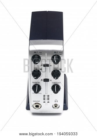 Sound audio mixer isolated. External audio card.
