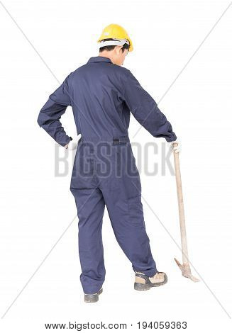 Man In Uniform Hold Old Pick Mattock That Is A Mining Device