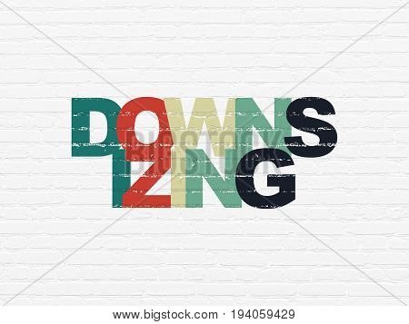 Business concept: Painted multicolor text Downsizing on White Brick wall background