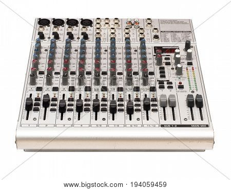 Audio sound mixer console isolated on white background.